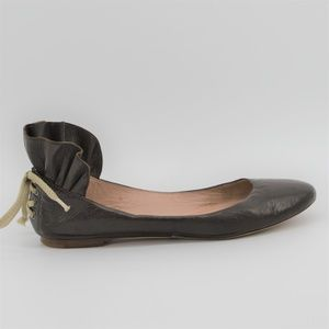 Chloe Leather ballet flats with ruffled back